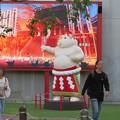 Photos: 大須矢場とん横に豚のマスコット像と放送中のアニメ表示 - 1
