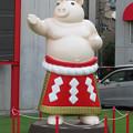 Photos: 大須矢場とん横に豚のマスコット像と放送中のアニメ表示 - 5