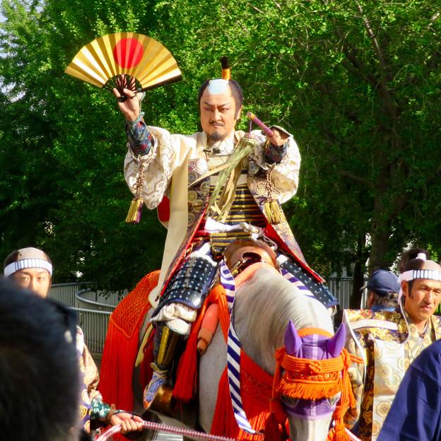 名古屋まつり 2019:馬に乗ってパレードする三英傑・織田信長役の人 - 3
