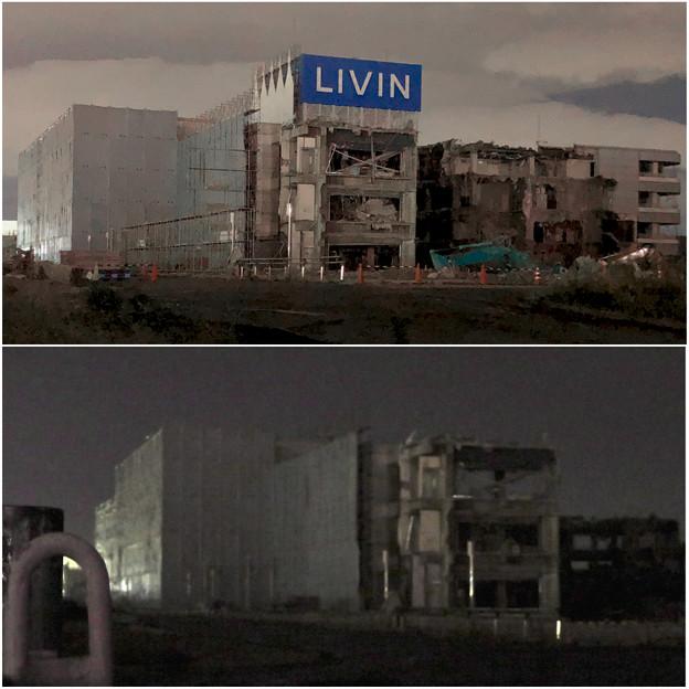 解体工事中の旧ザ・モール春日井:「LIVIN」の文字が見えなくなる(2019年10月8日と10月23日の比較)- 2