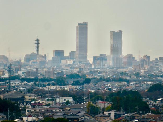 すいとぴあ江南から見た岐阜駅周辺ビル群
