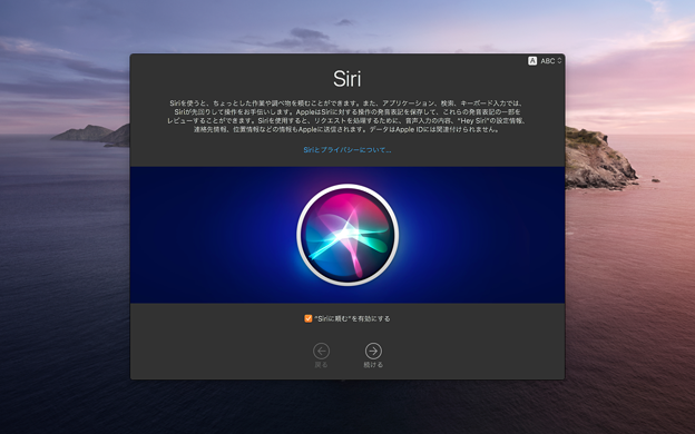 macOS Catalina 10.15.1アップデート直後に表示されるSiri関連のプライバシー確認アラート