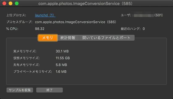 macOS Catalinaの写真アプリ:調整コピペ繰り返したらフリーズ→再起動後仮想メモリが11.55GB使用!?