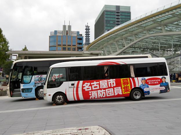 栄まちじゅう音楽広場 2019 No - 1:「消防団員募集」と書かれたバス