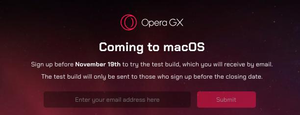 Mac版Opera GXのアナウンスページ - 2