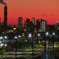 Photos: JR中央線に架かる橋の上から見た名駅ビル群と王子製紙の煙突 - 5