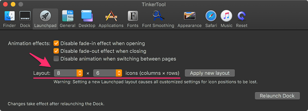 Photos: Tinkertool 7.42:Launchpadの設定項目 - 3