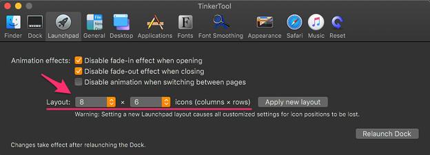 Tinkertool 7.42:Launchpadの設定項目 - 3