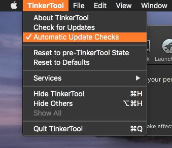 TinkerTool 7.42:オートアップデートチェックの設定