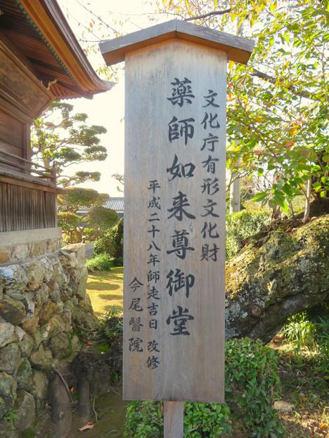 中山道 間の宿 新加納 No - 4:薬師如来尊御堂の「文化庁有形文化財」と記された立て札