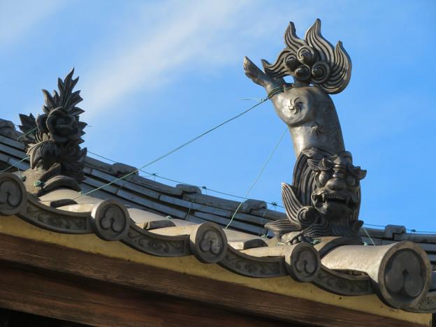 中山道 間の宿 新加納 No - 29:少林寺の本堂横にあるお堂の屋根のユーモラスな狛犬