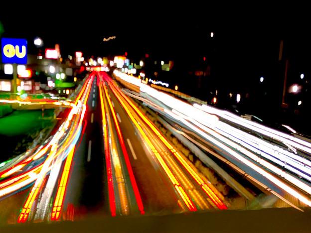 iPhoneアプリ「Lightmatic」で撮影した国道19号を走る光の軌跡 - 1