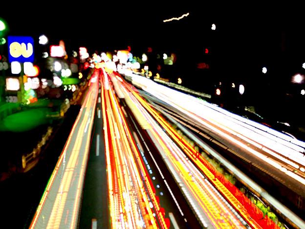 iPhoneアプリ「Lightmatic」で撮影した国道19号を走る光の軌跡 - 2