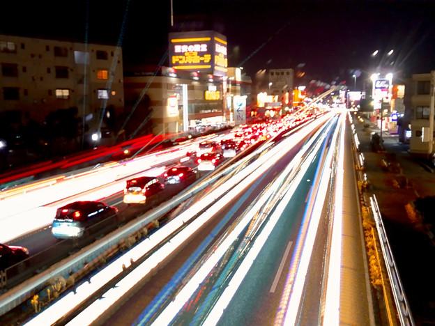 iPhoneアプリ「Lightmatic」で撮影した国道19号を走る光の軌跡(三脚使用)- 5
