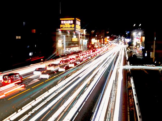 iPhoneアプリ「Lightmatic」で撮影した国道19号を走る光の軌跡(三脚使用)- 7