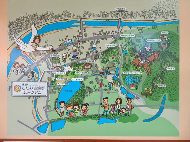 高蔵寺駅に設置されてた「しだみ古墳群」の案内 - 2:地図