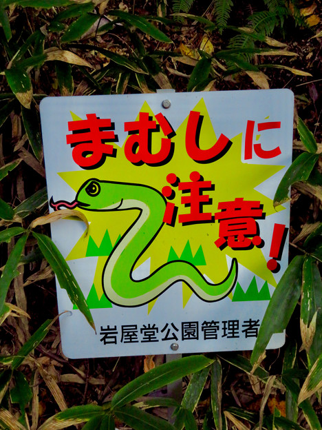 岩谷堂公園内 No - 4:「マムシ注意」の看板
