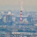 定光寺展望台から見た景色(2019年11月) - 7:王子製紙の煙突