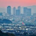 定光寺展望台から見た夕暮れ時の景色 No - 1:名駅ビル群