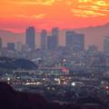定光寺展望台から見た夕暮れ時の景色 No - 10:名駅ビル群