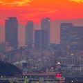 定光寺展望台から見た夕暮れ時の景色 No - 11:名駅ビル群