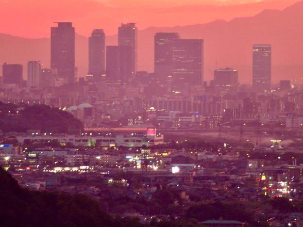定光寺展望台から見た夕暮れ時の景色 No - 20:名駅ビル群