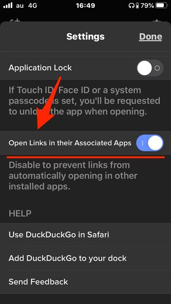 DuckDuckGoブラウザ 7.33.1:URLをそれぞれのアプリで開く設定 - 1