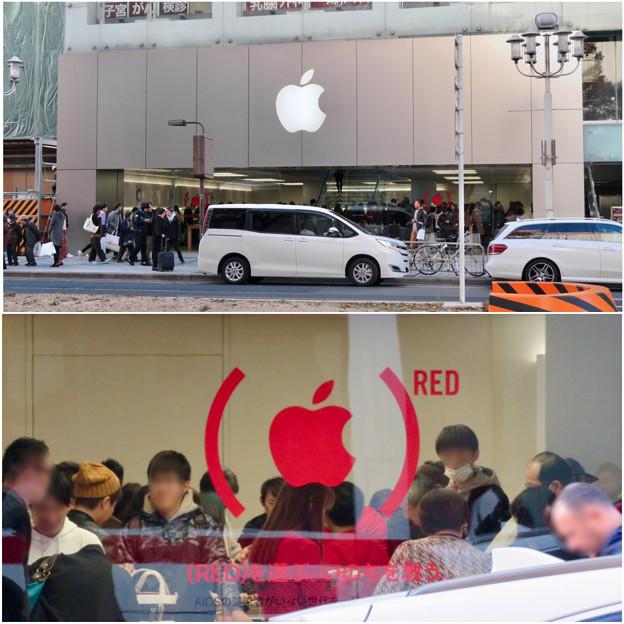 Appleストア名古屋栄:お店のガラスに「RED」マーク - 3