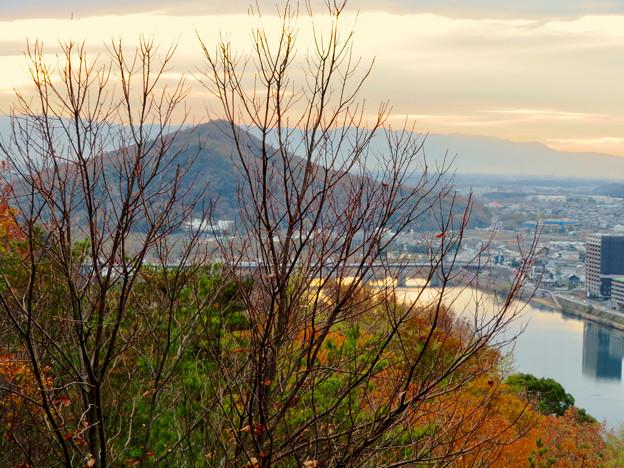 犬山善光寺の展望台から見た景色 No - 12:紅葉した木々越しに見た伊木山と木曽川