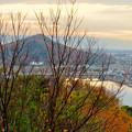 Photos: 犬山善光寺の展望台から見た景色 No - 12:紅葉した木々越しに見た伊木山と木曽川