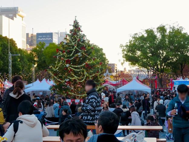 名古屋クリスマスマーケット 2019 No - 4:クリスマスツリーと来場していた大勢の人たち