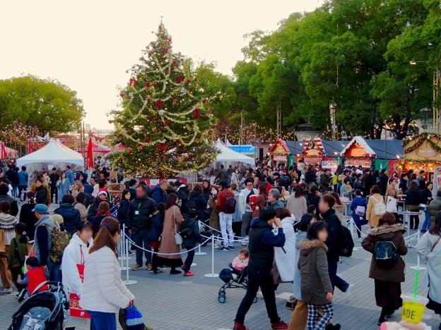 名古屋クリスマスマーケット 2019 No - 11:クリスマスツリーと来場していた大勢の人たち