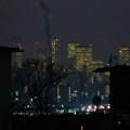 Photos: アピタ高蔵寺店から見た夜の名駅ビル群と王子製紙の煙突から出る煙