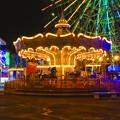 夜のシートレインランドのメリーゴーランド