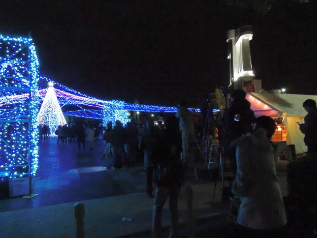 ガーデンふ頭臨港緑園からISOGAI花火劇場の花火を撮影してた人たち - 3