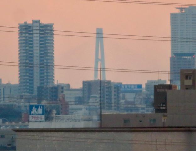 落合公園水の塔から見た景色 - 1:名港トリトン(たぶん名港東大橋)