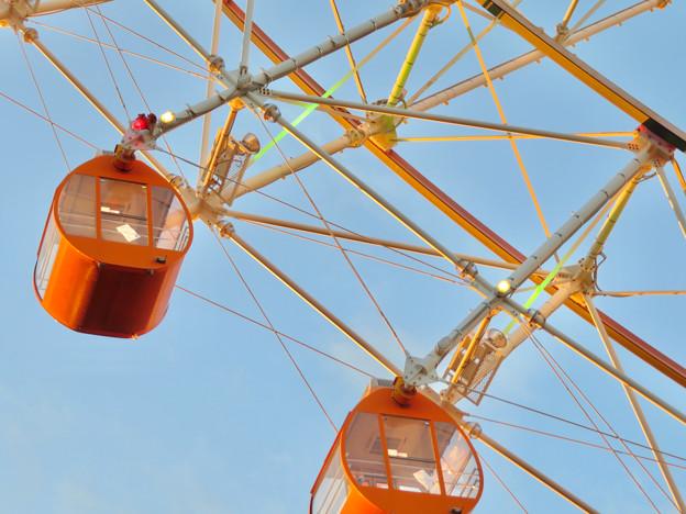 愛・地球博記念公園の大観覧車 - 9:真下から見た点灯直後のイルミネーション