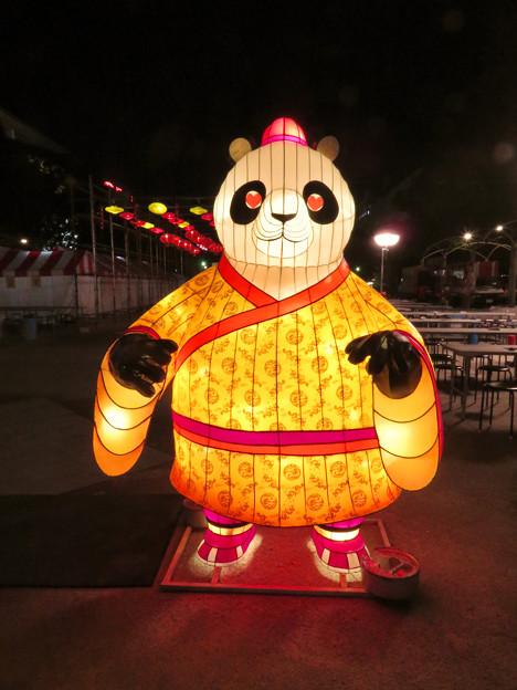 名古屋中国春節祭 2019:夜のイルミネーション - 3(目がハートマークのパンダ)