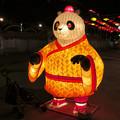 名古屋中国春節祭 2019:夜のイルミネーション - 5(目がハートマークのパンダ)