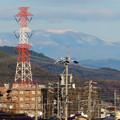 春日井市内から見えた薄っすら雪を頂く恵那山と笠雲 - 1
