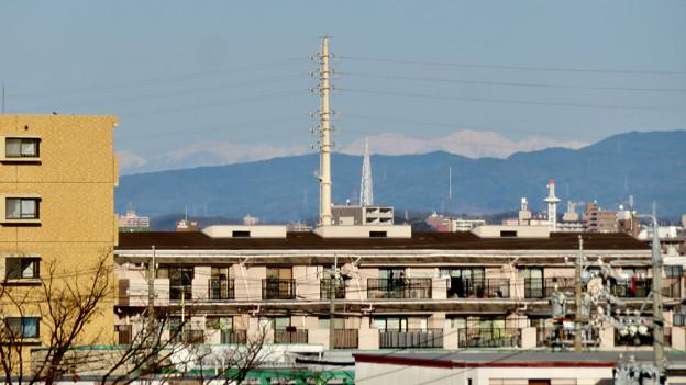 笠寺公園から見えた瀬戸デジタルタワーと雪を頂く山脈 - 1