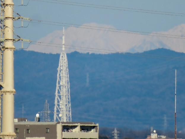 笠寺公園から見えた瀬戸デジタルタワーと雪を頂く山脈 - 3