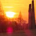 落合公園の石のオブジェと夕焼け - 2