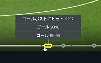 DAZNでサッカー:「キーモーメント」で試合のハイライトや前半開始・終了などのタイムスタンプを表示 - 6(ポストにヒットとゴールシーン)