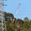 遠くから見たリニア中央線のための送電線鉄塔工事現場 - 15