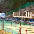 小牧市内の山沿いにあるリニア中央新幹線用送電線建設工事(2020年3月) - 2:モノレール基地(ふれあいの森側)