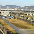 神領車両区越しに見た神領駅の陸橋