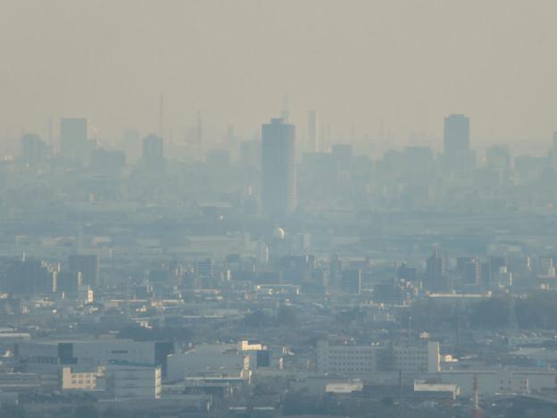 猿啄城展望台から見た景色 - 25:ザ・シーン城北と名古屋港周辺の巨大建造物