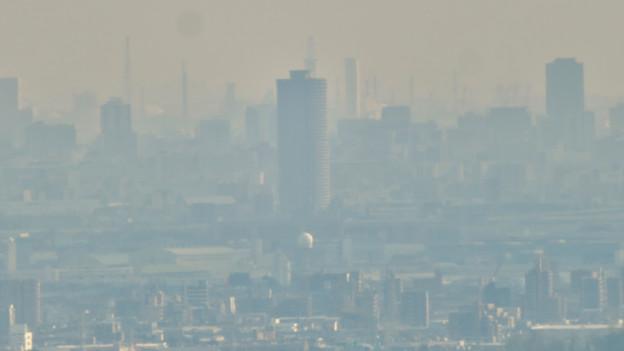 猿啄城展望台から見た景色 - 33:ザ・シーン城北と名古屋港の巨大建造物