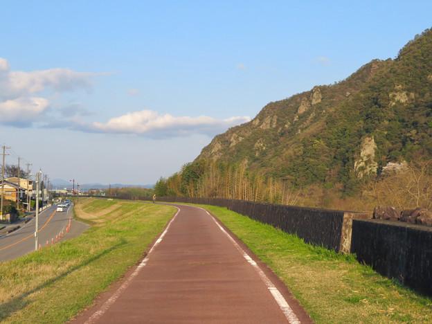 坂祝町:木曽川堤防上の道